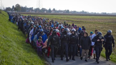 Migrants and refugees are escorted by police after crossing into Slovenia from Croatia.
