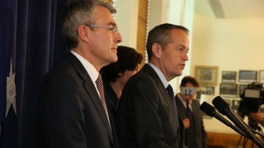 Shadow attorney-general Mark Dreyfus and Opposition Leader Bill Shorten announce Labor's rejection of the plebiscite on Tuesday.