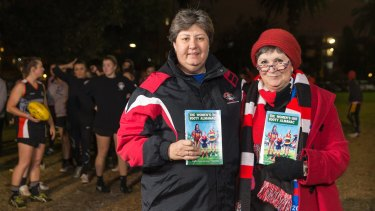 Leesa Catto and Yvette Wroby at St Kilda Sharks training with the inaugural Women's Footy Almanac.