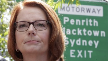 Julia Gillard during a media conference near the M7 motorway in Sydney.