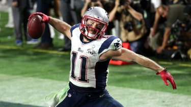 Julian Edelman of the New England Patriots celebrates a touchdown in the Super Bowl.