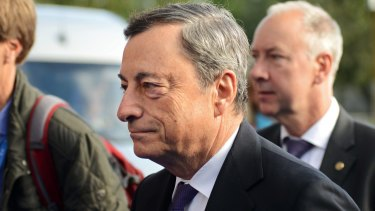 "European Central Bank President Mario Draghi said that although there were some signs that wages were finally increasing, ""we're still not there""."
