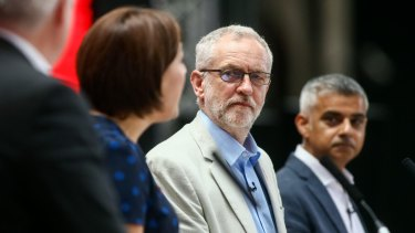 UK Labour party leader Jeremy Corbyn at a London rally to keep Britain in the EU.
