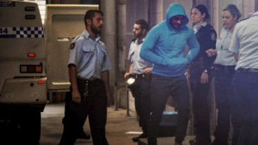Salim Mehajer arrives at Burwood Local Court after allegedly breaching his AVO on Sunday night.