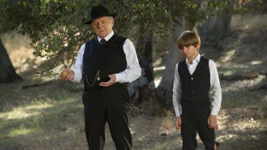 Anthony Hopkins, left, plays the park's inscrutable God Robert Ford.