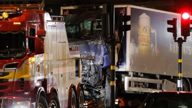 The hijacked beer truck plowed into pedestrians outside a Stockholm department store.
