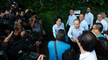 Worker's Party chairman Sylvia Lim Swee Lian (centre) and Secretary General Low Thia Kiang earlier this month.