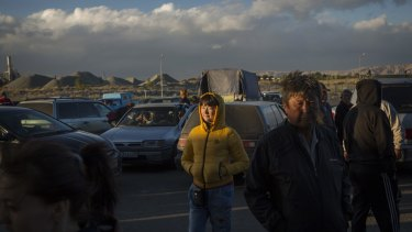 Kazakh traders wait for their goods purchased from China to be cleared on the Kazakh side of the Horgos free-trade zone near Horgos, Kazakhstan.
