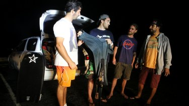 Gonzalo Mompo Fernandez, centre, with friends Ivan Vilches, Jordan Hirst and Unai Unsausti.