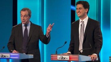 UKIP leader Nigel Farage, left, and Labour leader Ed Miliband take part in the ITV Leaders' Debate.