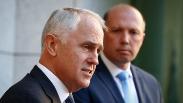 Prime Minister Malcolm Turnbull and Immigration Minister Peter Dutton unveil details of the 457 visa shake-up in April.
