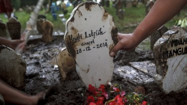 The grave marker of Hayati Lutfiah Hamid, the first crash victim to have a funeral.