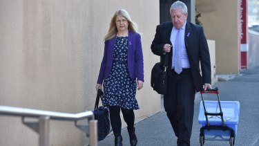 Faye and Mark Leveson arrive at the NSW Coroner's Court for the resumption of the inquest into the death of their son Matthew.