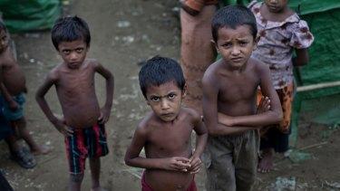 Rohingya children at a refugee camp in Rakhine state in 2014.