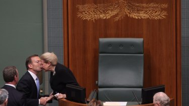 Tony Abbott congratulating Bronwyn Bishop the day she became Speaker in 2013.