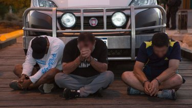 Three of the eight men arrested in the methamphetamine in Geraldton in WA.