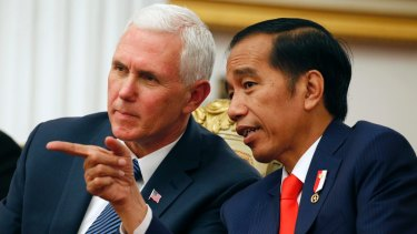 Mike Pence with Indonesian President Joko Widodo in Jakarta on Thursday.