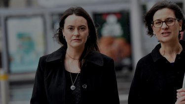 Shonica Guy (left) with her lawyer Jennifer Canis arriving at the Federal Court.