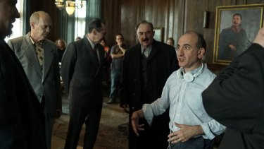 Writer-director Armando Iannucci (with headphones) on the set of the film based on events around the death of the Soviet dictator Joseph Stalin in March 1953..