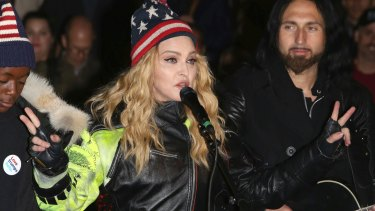 At the same time as the Philadelphia rally, Madonna performed in support of Hillary Clinton at Washington Square Park in New York.
