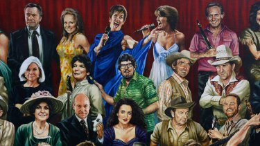 Before: Detail of artist Jamie Cooper's painting of Australian entertainers, with Rolf Harris included.