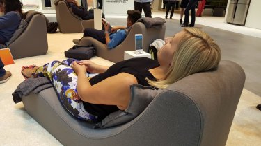 IFA attendees test out Sleep Sense, which collects data on your sleep.