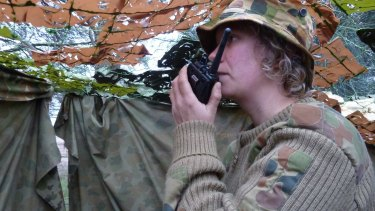 Ecologist Inka Veltheim waits in a hide for the notoriously shy brolgas to land.