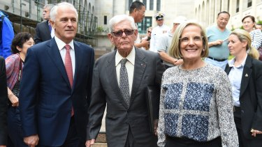Prime Minister Malcolm Turnbull, former attorney-general and prominent barrister Tom Hughes QC and daughter Lucy Turnbull earlier this year.