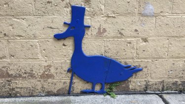 The Blu Art Xinja's duck in Brisbane's Burnett Lane.