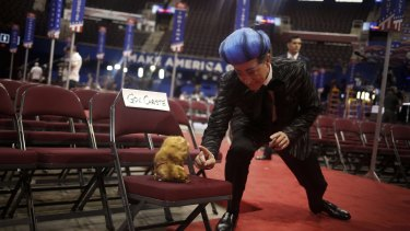 <i>The Late Show</i> host Stephen Colbert gestures to a stuffed ferret while rehearsing ahead of the Republican National Convention (RNC) in Cleveland, Ohio.