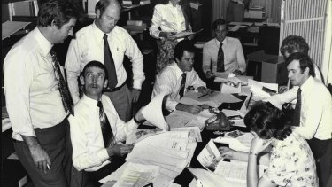 "Commonwealth police check social security files in 1978 during the high-profile investigation into ""dodgy"" compensation claims."