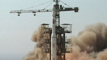 A rocket lifts off from its launch pad in Musudan-ri, North Korea in 2009.