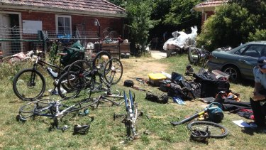 Suspected stolen items found at a home in Griffith on Friday.