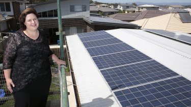 Rachael Turner of Forde with her 5.2kW solar power system that has a battery storage system.
