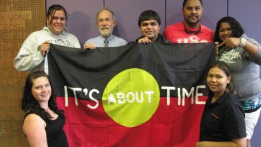 Garth Nettheim with Indigenous UNSW law students, whose presence on campus he championed.