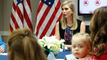 Trump's daughter Ivanka (top right), who has defended her father as respectful of women, speaks during a meeting with women members of Congress in Washington on Friday.