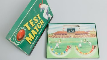 The original 1940s Test Match cricket board game is one of the items Myer has selected for its commemorative exhibition.