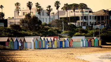 Brighton Beach with its famous beach boxes.