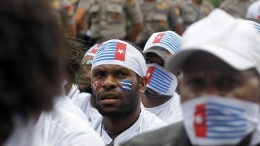 Making their case: West Papuans during a rally marking the 53rd anniversary of the Free Papua Movement.