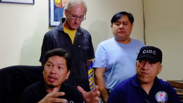 Gerard Peter Scully being presented at the National Bureau of Investigation office in Cagayan de Oro City, Philippines after his arrest.
