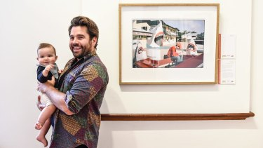 Photographic Prize winner Trent Mitchell with his son Oscar.