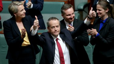 Bill Shorten after delivering the budget reply speech at Parliament House.