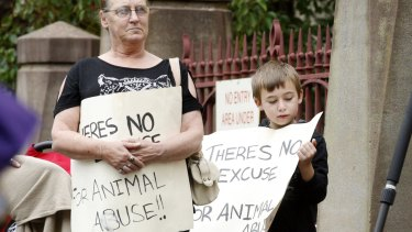 Protesters outside the court for Nathan Thompson's sentencing.