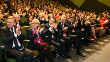 Anthony Albanese (left) with other Labor frontbenchers at the conference.