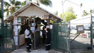 The front entrance of Australia's asylum seeker detention centre on Manus Island, Papua New Guinea.