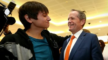 17-year-old Christian Cedergren with Opposition Leader Bill Shorten.