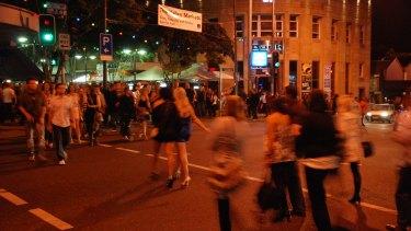 Crowds in Brisbane's Fortitude Valley nightclub and bar precinct.
