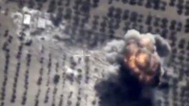 A target hit during a Russian air raid in Syria.