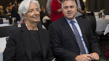 Joe Hockey and the head of the International Monetary Fund, Christine Lagarde, in Brisbane.