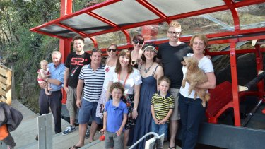 The Hammon family at Scenic World in the Blue Mountains including Emily Hammon (centre).